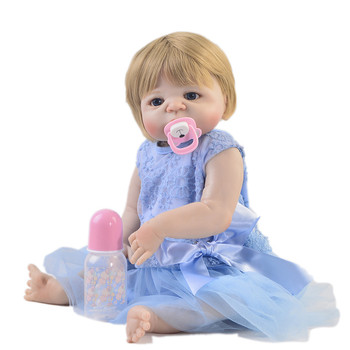 23inch Full silicone reborn baby dolls Toy Baby-Reborn lifelike model dolls vinyl newborn bathe princess toddler Brinquedos toy