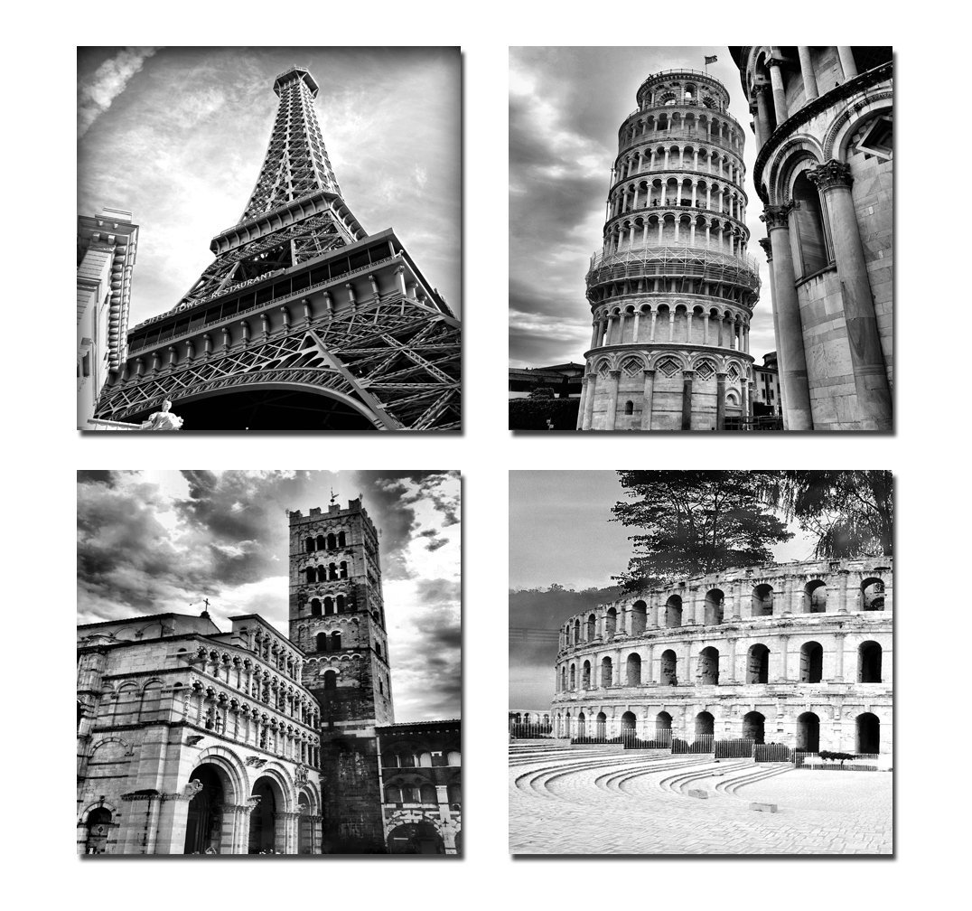 Wall Art Paintings Architectures Modern 4 Panels Giclee Canvas Prints Europe Buildings Black And White Landscape On In Painting Calligraphy From