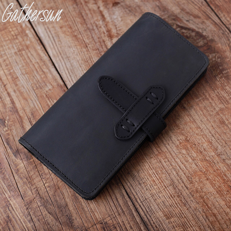 Gathersun Brand Handmade 100% High quality Top Layer Cowhide Leather Wallet Genuine Leather Unisex Vintage Style Long Purse