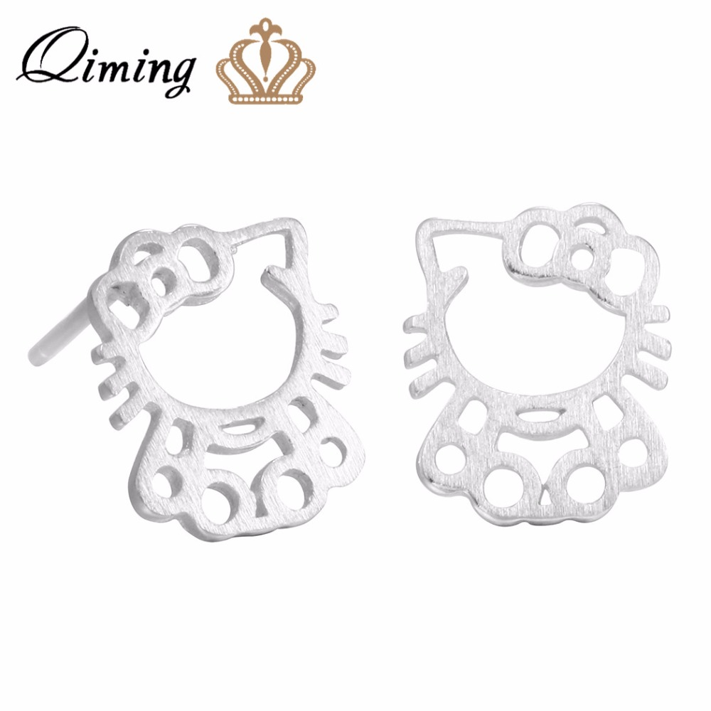 Qiming New Design Hello Kitty Cat Earrings For Women Lovely Cats Animal 925 Sterling  Silver Jewelry