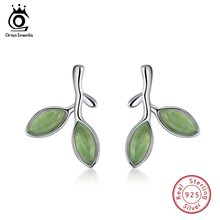 ORSA JEWELS Genuine 925 Sterling Silver Women Stud Earrings Leaf Bud Shape 2019 Women's Earring Romantic Silver Jewelry SE87(China)
