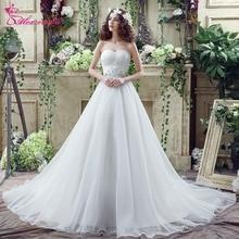 Alexzendra készlet ruhák A vonal gyönyörű Organza esküvői ruha Sweetheart gyöngyözött Elegáns esküvői ruhák Fátyol hajlandó szállítani