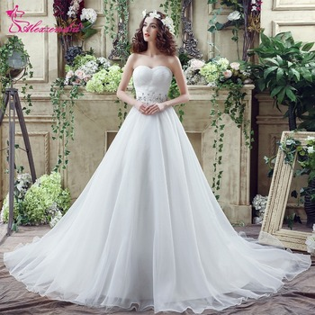 Alexzendra Stock Dresses A Line Gorgeous Organza Wedding Dress Sweetheart Beaded Elegant Bridal Gowns Veil Ready to Ship
