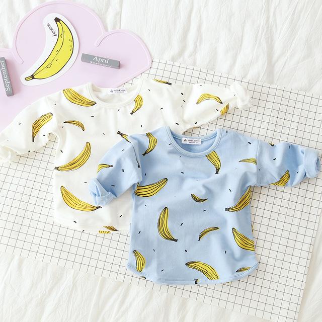 Designer de t camisa da menina de impressão com bananas 2016 crianças roupas meninas tops outono primavera criança meninos hoodies da camisola dos miúdos