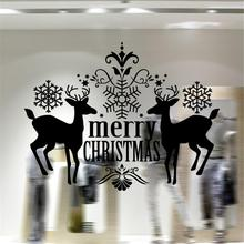 Merry Christmas Sika Deer Living Room Bedroom DIY Window Wall Sticker Carved New Year Home Decorations
