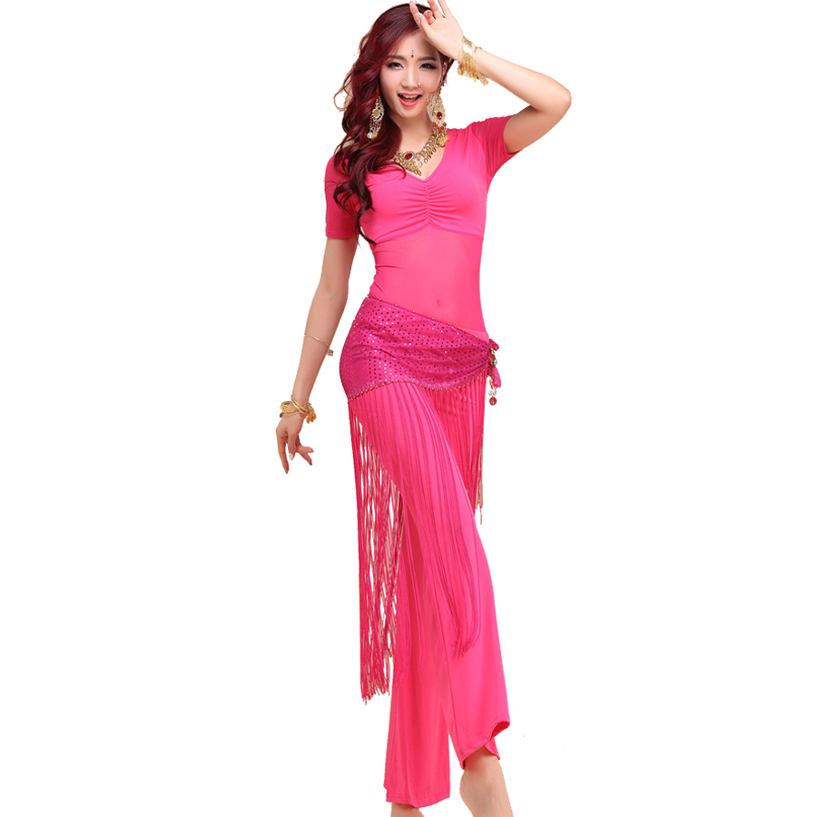 2018 Belly Dancing Clothes 3pcs(Top+Pants+Hip Scarf) Bellydance Indian Dress Bollywood Dance Costumes Danca Do Ventre