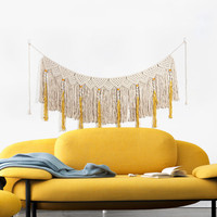 dream catcher Hand Knotted Macrame Wall Art Handmade Cotton Wall Hanging Tapestry with Lace Fabrics Bohemian Wedding Decoration