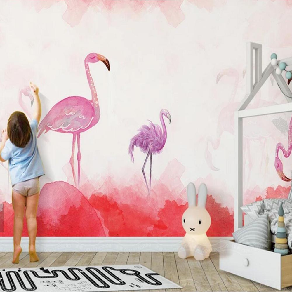 Wallpapers Modern Hand Painting Flamingos Novelty Wallpaper Mural Printed Wallpapers For Kids Bedroom Wall Decor Custom Size Contact Paper A Great Variety Of Goods