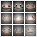 11 Styles Fashion Rose Gold  Plated cuff Men & Women anti arthritis Rheumatism Magnets Healthy men Pure Copper bracelet bangles
