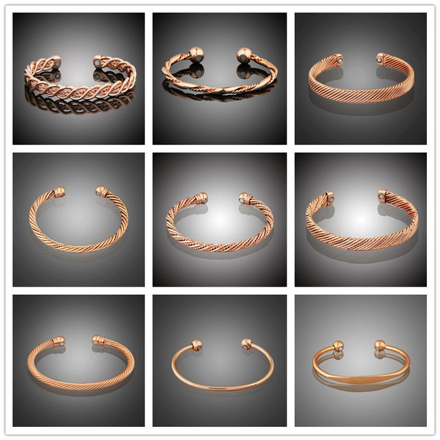 Lakone 11 Styles Pure Copper Bangle Rose Gold Color Magnets Health Balance Magnetic Bangles Women Men Jewelry Cuff Wrist