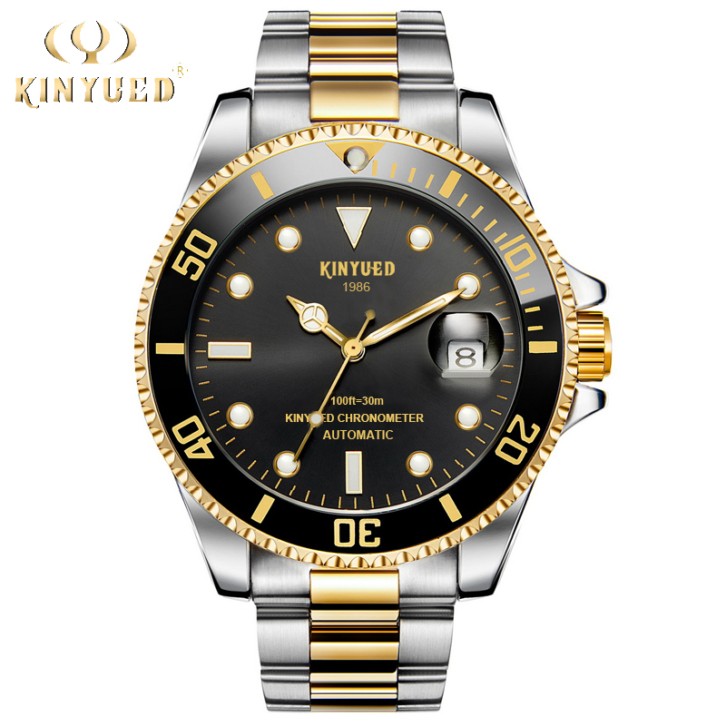 KINYUED Mens Mechanical Watches Waterproof Steel Stainless Brand Luxury Automatic Watch Men Self-Wind Calendar Relogio Masculino mce automatic watches luxury brand mens stainless steel self wind skeleton mechanical watch fashion casual wrist watches for men