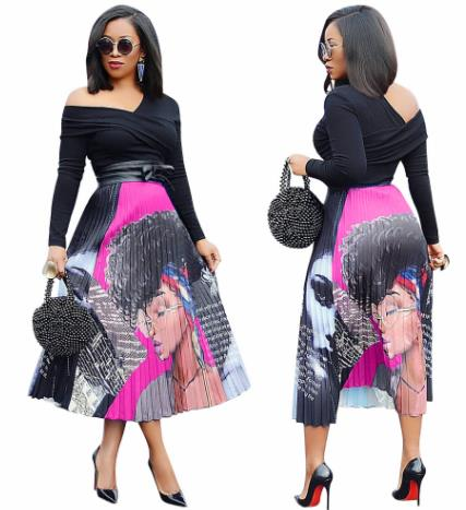 2019 Dashiki African Clothes  New Women Vintage Character Letter Print High Waist Mid-calf Length African Pleated Skirts Vintage