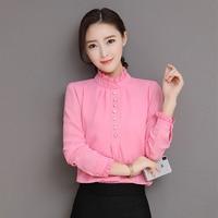 2018 Spring And Summer Women S Chiffon Shirt Long Sleeve Stand Collar Pearl Slim Fashion Blouse