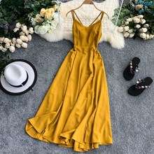 Sexy Party V Neck Spaghetti Strap Split Maxi Dress Hollow Out Women Backless Casual Beach Holiday Summer Vestidos
