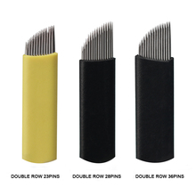 50pcs Double Row Microblading Needles Permanent Makeup Supply Disposable Tattoo Needles Shading Blades for Eyebrow Lip Tools