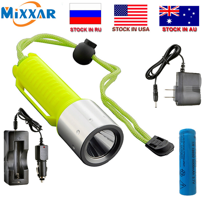 ZK20 Dropshipping LED Diving Senter T6 2000LM Lampu Lentera Isi Ulang 18650 Underwater Diving Scuba Senter Cahaya