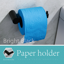 цена на Toilet Paper Holder Bathroom Tissue Paper Towel Roll Holder Hanger Wall Mount Black Finish SUS 304 Stainless Steel