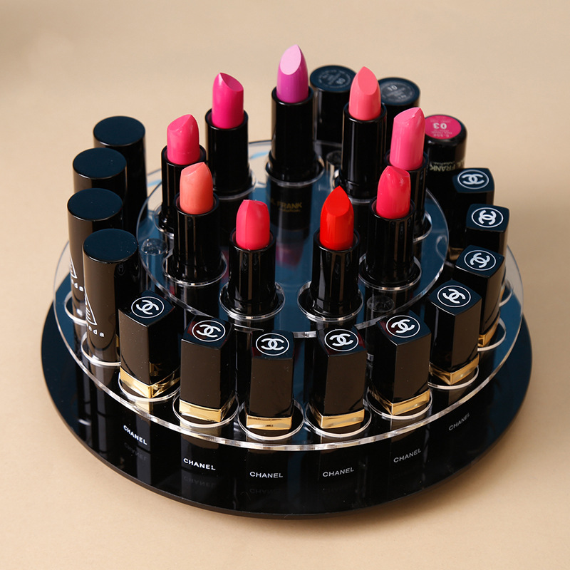 28 Holes Acrylic Transparent Black Disc Lipstick Storage Box Rotary Round Hole Cosmetic Display Stand organizer