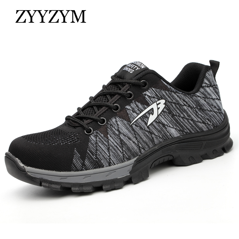 ZYYZYM Men Work Safety Shoes Steel Toe Cap Casual Shoes Men Non-slip Puncture Outdoor Boots цена 2017
