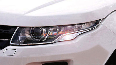 Chrome Front Headlight Lamp Cover Trim For Land Rover Range Rover Evoque 11-16 carbon fiber style abs plastic for land rover range rover evoque 12 17 center console gear panel decorative cover trim newest