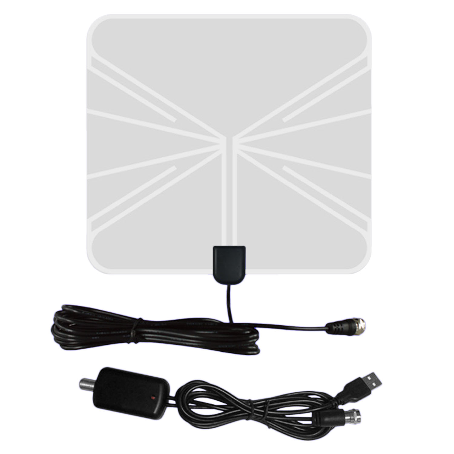 Indoor Digital HDTV Antenna 50 Miles Range with Amplifier Signal Booster 4m Coaxial Cable IEC Connector - intl