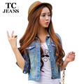 TC Women Jeans Jackets Short Tops 2016 Spring Autumn Long Sleeve Denim Coat Ripped For Women Clothing Chaquetas Mujer AT00168