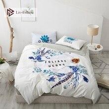 Liv-Esthete Fashion Tropical Plants 100% Cotton Bedding Set Duvet Cover Pillowcase Flat Sheet Fitted Double Queen King