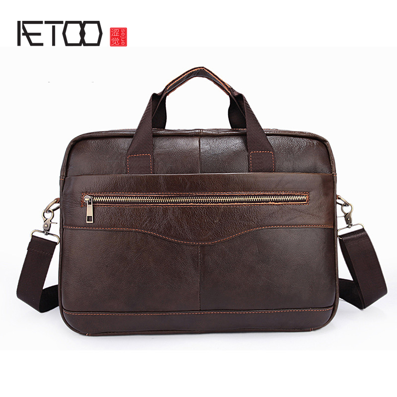 AETOO Briefcase leather business casual men bag handbag cross section first layer leather business package aetoo new first layer of leather men s shoulder bag leather male package cross section oblique cross bag japanese and korean ver