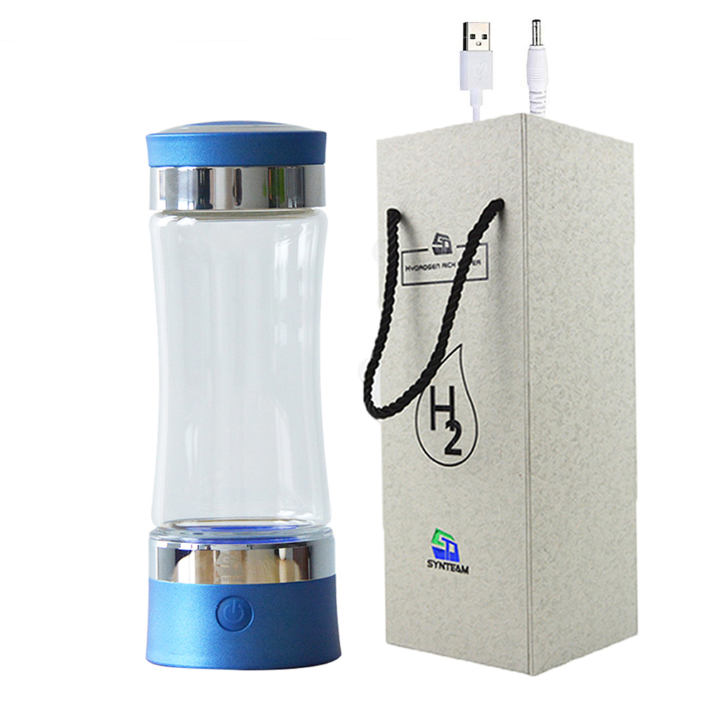 SYNTEAM PEM Membrane H2 Rich Hydrogen Water Bottle Electrolysis Ionizer Generator USB Rechargeable Removal O3 CL2