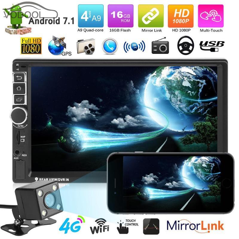 7 Écran tactile 2 Din Quad-core Voiture Radio Android 7.1 WIFI Bluetooth Auto MP5 Lecteur GPS Navigator Autoradio avec Caméra de recul