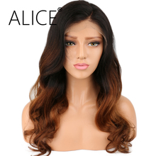 ALICE Ombre Color Lace Front Human Hair Wigs With Baby Hair Pre Plucked Hairline Body Wave Non Remy Brazilian Hair Wigs