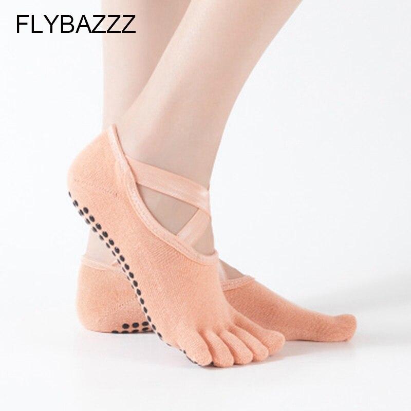 Ballet Yoga Socks Non slip Skid Pilates Dance Low Cut Socks for Women Five Finger Socks Cross Feet Backless Soft Cotton Slippers in Yoga Socks from Sports Entertainment