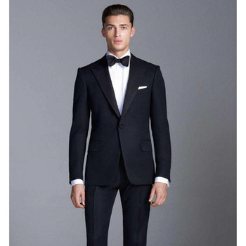 Men's suit two-piece suit (jacket + pants) men's gentleman Slim solid color suit men's ball party dress support custom
