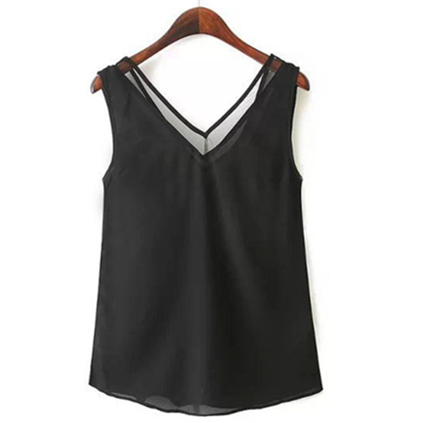 Buy women chiffon black sleeveless tank for Black sleeveless shirt womens