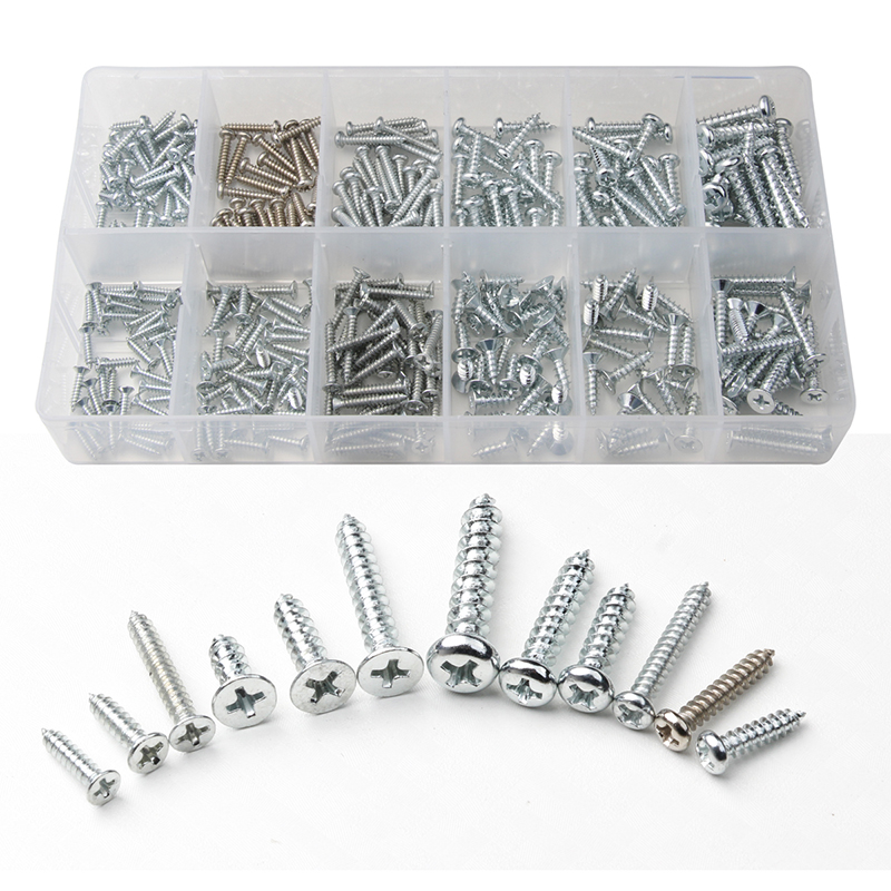 350PCS Cross Countersunk Self-tapping Screws Kit Flat Head Phillips Screw Set Iron Nickel Plated Tools Accessories M2.5/M3/M4 50 pieces metric m4 zinc plated steel countersunk washers 4 x 2 x13 8mm
