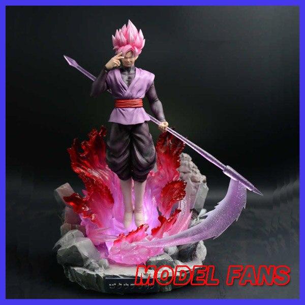 Modèle FANS en STOCK Dragon Ball Z 40 cm super saiyan rose goku noir gk statue contient lumière LED figurine jouet pour la Collection