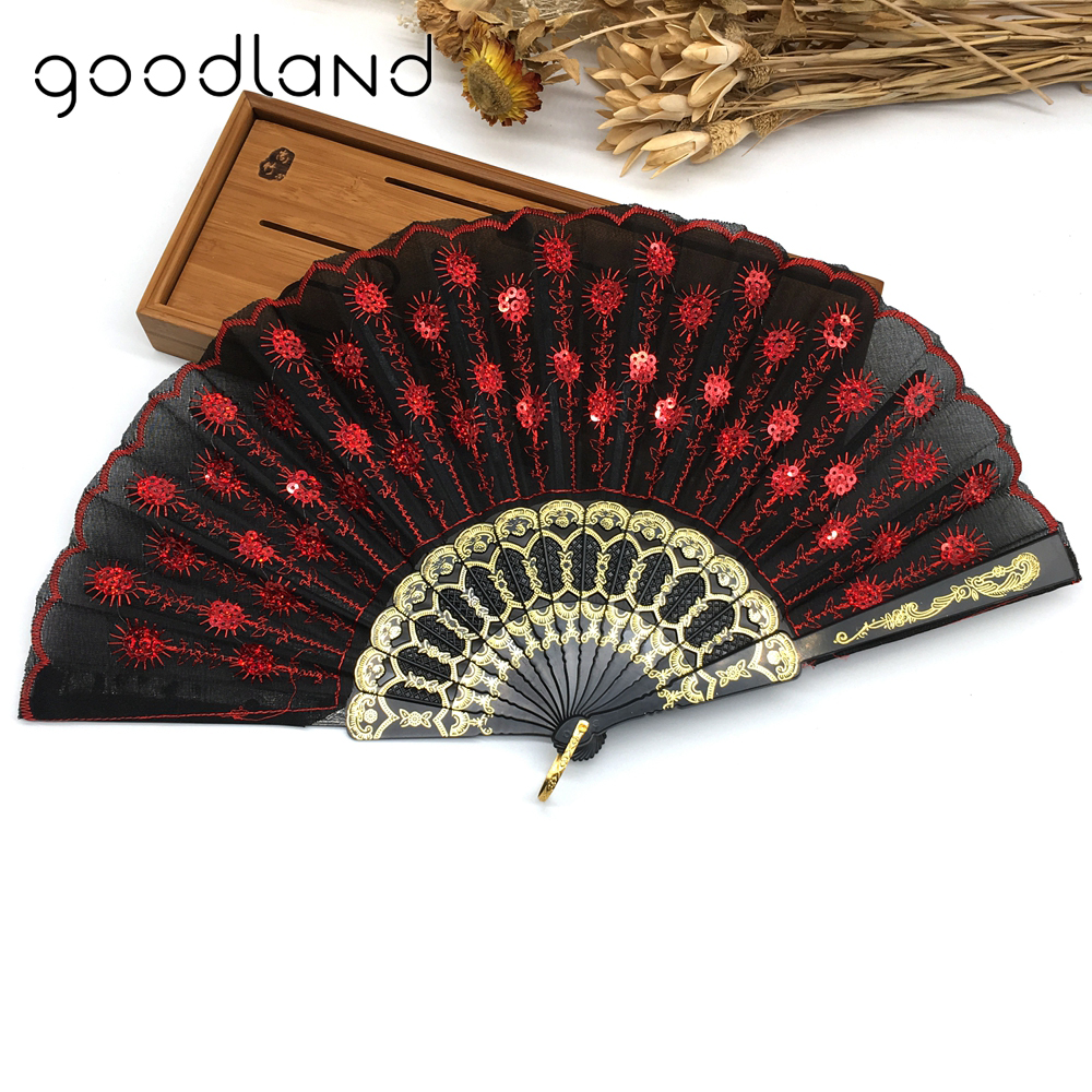 Gratis frakt 1st Kinesisk Folding Peacock Pearl Fabric Färg Dekoration Fan Hand Broderad Blommönster Fabric Folding Fan