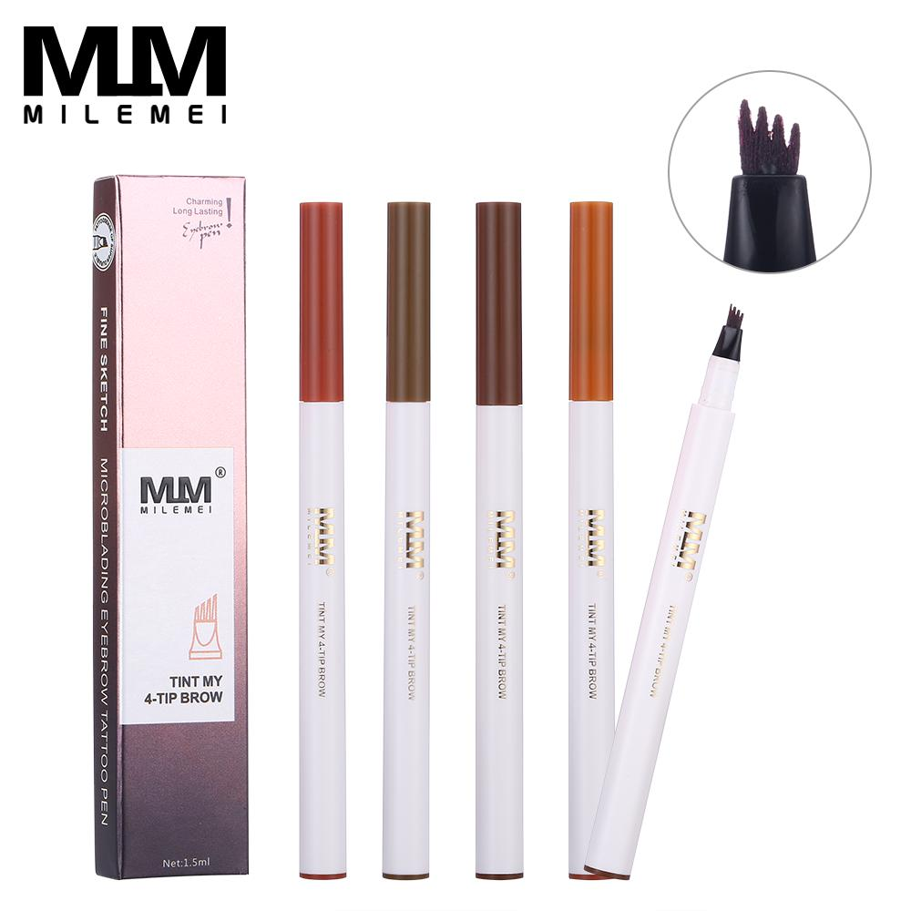 Milemei 4pcs Microblading 4 Fork Tip Eyebrow Pencil Fine Sketch  Waterproof Tattoo Pen Liquid Eye Brow Enhancer Colors Selling