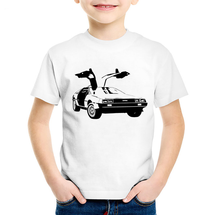DMC DeLorean Printed Children Fashion T-shirts Kids Back To The Future Summer Tees Boys/Girls Casual Tops Baby Clothing,HKP655