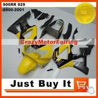 100% Pasuje Do HONDA CBR900RR 929 2000 2001 ŻÓŁTY SREBRNY FIREBLADE Motocykl FAIRING KIT Ochronna Pokrywa ABS Injection Molding