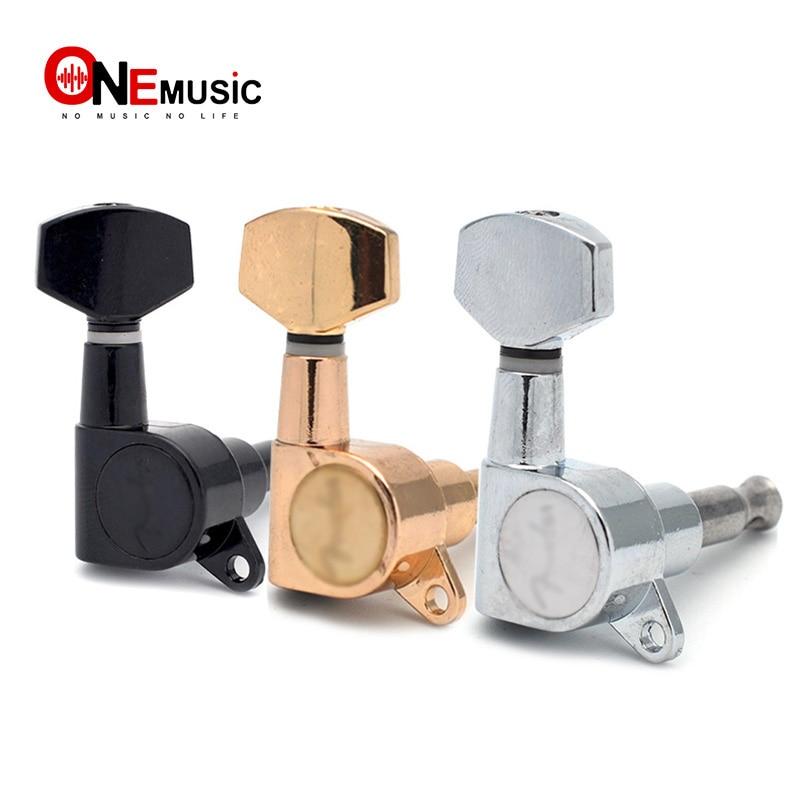 6PCS Guitar Tuning Pegs Tuner Machine Heads DIY FD Logo Tuning Peg Machine Head Chrome-Gold-Black