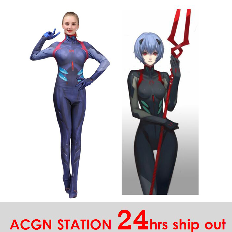 2019 New Kids Women Ayanami Rei Cosplay Costumes Movies EVA2 Women Jumpsuits Bodysuits Halloween Costumes Movie unitard