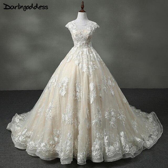 Mewah Renda Pernikahan Gaun Sampanye Gaun Pengantin Putri Vintage
