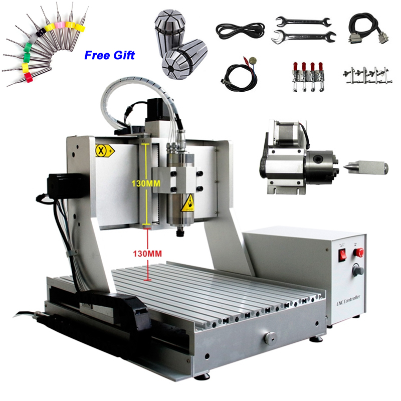 4 axis cnc 3040 2200w spindle 3 axis metal engraving machine er20 collet wood router with limit switch and free cutter 4 Axis CNC 3040 Mini CNC Metal Milling Machine Ball Screw 800W Spindle 3D Engraving Machine with 130mm Z-Axis Stroke