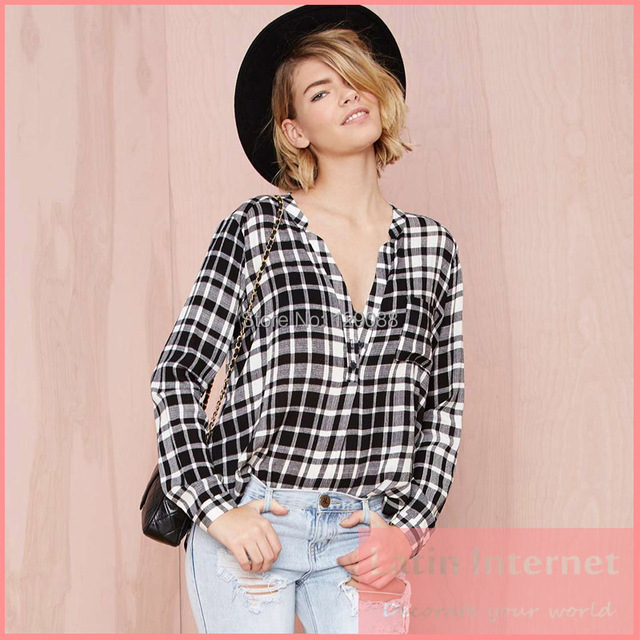 2d893aa7 Hot Sell Fall Women Casual Blouse Black White Plaid Pattern Checkered Shirt  Loose V-neck Long Sleeve Curved Hem Comfortable Tops