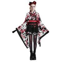 Готическая Лолита Для женщин японский дворец сладкий красивая кимоно платье с длинным рукавом из трех частей с бантом на поясе короткие Веч