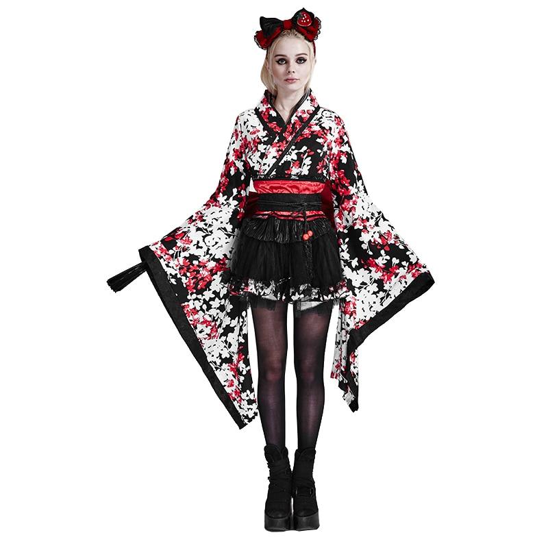 Готическая Лолита женское японское Дворцовое милое красивое кимоно платье с длинным рукавом из трех частей с принтом и бантом короткое вечернее платье