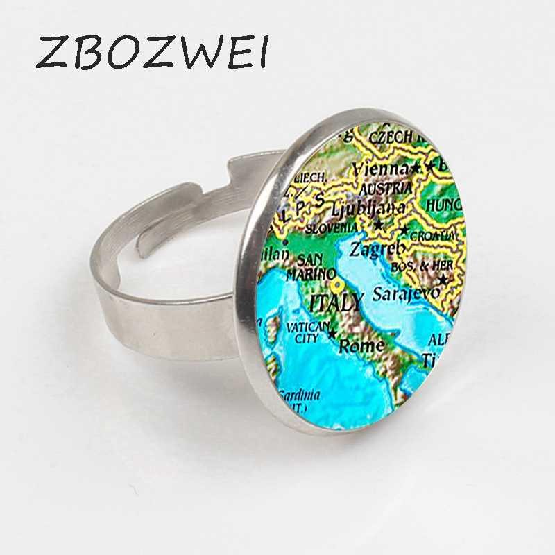 "ZBOZWEI 2018 ""איטליה זכוכית טבעת. איטליה מפת טבעת. איטליה מפת תכשיטים, מתנת יום הולדת, תכשיטי קרושון טבעת, כסף paletd. handmake"