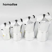 Homadise Aluminium Moka Topf Bialetti Style Espresso Kaffeemaschine Topf für Gasherd Cookern Barista 3-12 Tassen