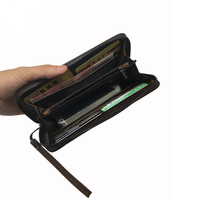 Men Wallet Leather Long Alligator Wallet Zipper Money Purse